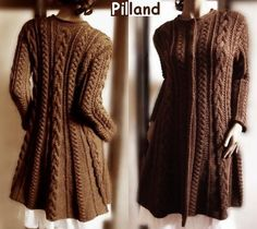 Hand Knit Wool Cable Sweater Coat Cable Knit Sweater by Pilland