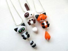 Cute Polymer Clay Raccoon   Cute Friendship Necklaces - Fox, Raccoon & Bunny by ...