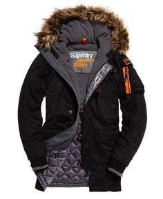Superdry Microfibre Parka Coat Black