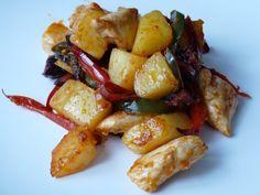 Pour les amateurs de poêlée, je vous propose donc cette recette de poêlée poulet pommes de terre qui est très simple à réaliser et rapide en cuisson ! Vous allez j'en suis sure aimer alors dites le nous  Ingrédients 300 gr filet poulet 90 gr bacon 10 pommes de terre carottes courgettes 1 oignon …