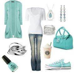 aqua casual outfits my-style Fashion Moda, Look Fashion, Winter Fashion, Womens Fashion, Blue Fashion, Teen Fashion, Fashion News, Mode Outfits, Fall Outfits