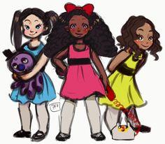 The Schuyler Sisters drawn as Powerpuff Girls