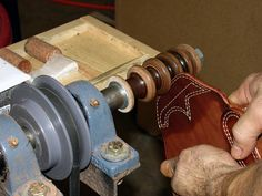 Burnishing on cocobolo leather burnishing wheel