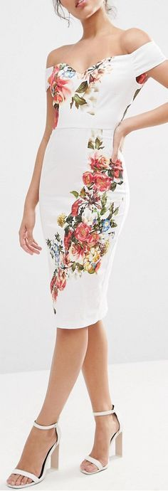 Bardot Off The Shoulder Hitchcock Midi Pencil Dress In Vintage Flowers Más Lovely Dresses, Trendy Dresses, Beautiful Outfits, Casual Dresses, Short Dresses, Summer Dresses, Moda Floral, Dress Skirt, Dress Up