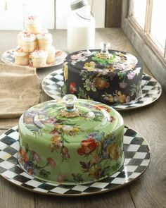 "McKenzie childs cake carrier | MacKenzie-Childs ""Flower Market"" Cake Carrier - Neiman Marcus"