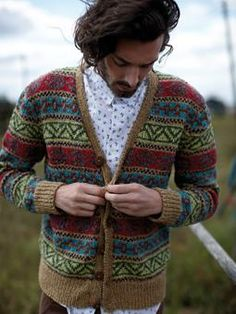 Knit this colourful fairisle cardigan design with rib and button detail.