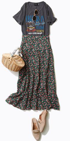 エアリーな花柄スカートで甘辛フェスファッション! 人気スタイリスト川上さやかさんがルミネ新宿ルミネ2のショップアイテムを使って、猛暑続きの毎日でも「涼しい」クールスタイルをレッスン!