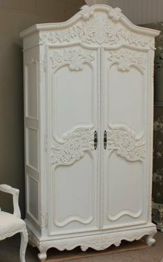 French Chateau Carved Armoire With 6 Drawers by Shabby Chic Home. $2299.00. Finish : Slightly Distressed White. Each Drawer is 44.5cm x 12.5cm. NOTE: Please email or call us 212 213 8514 prior to placing an order. Thank you. To view more French White Furniture please visit our website http://bit.ly/wPBSmY. Armoire will be assembled on site by our delivery chaps. Size: Armoire: W:120cm Depth:60cm H:230cm. Delivery 6 to 12 weeks. One of our most highly carved Armo...