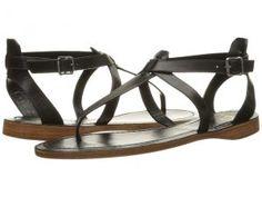 Frye Rachel T Sandal (Black Smooth Full Grain) Women's Sandals