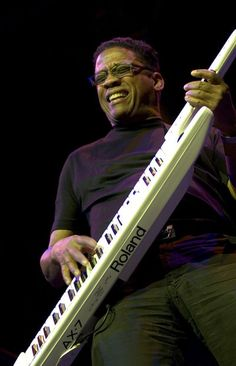 Herbie Hancock with a keytar or strap-on keyboard. These devices appeared at the end of the 70's to allow keyboardists to share the front of the scene with guitarists.