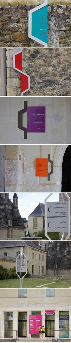 Signalétique de l'abbaye de Fontevraud par Matali Crasset Signage Display, Signage Design, Environmental Graphic Design, Environmental Graphics, Wayfinding Signs, Sign System, Outdoor Signage, Exterior Signage, Branding