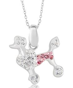 This White Poodle Pendant Necklace Made With SWAROVSKI ELEMENTS is perfect! #zulilyfinds