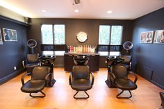Karma Salon, Marion, MA. Vintage Clock, Custom Framed Wall Decor, Hair Salon privacy window treatments, Benjamin Moore paint color - Raccoon Fur, Ceiling - Cream Puff  www.tapperrichards.com, @jennierock @katspa79