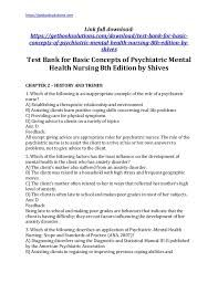 Basic Concepts Of Psychiatric Mental Health Nursing 8th Edition Test