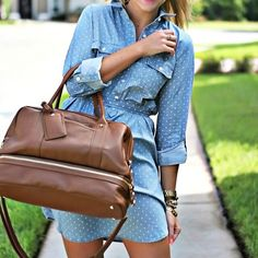 On the blog today in my favorite chambray dress and cognac accents. Register and like this photo o... #liketkit www.liketk.it/iT12 @liketkit