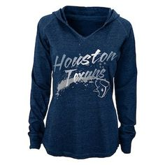 Houston Texans Juniors Fabulous Long Sleeve Hooded T-Shirt - Navy Blue abad45fe9