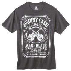 Men's Johnny Cash Man in Black Label Graphic Tee - Black #fashion #music