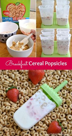 Yum! Breakfast Cereal Popsicles are the perfect start to a hot summer day! These pops only take 4 ingredients to make and can be enjoyed for breakfast or dessert! | Hello Little Home