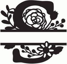 Silhouette Design Store - View Design floral split monogram b Letter Decals, Letter Stencils, Letter Art, Monogram Design, Monogram Letters, Silhouette Cameo Projects, Silhouette Design, Monogramm Alphabet, Cricut Invitations