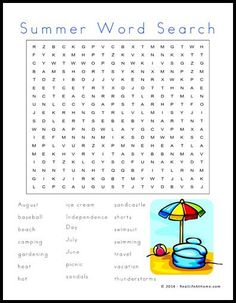 Free Summer Word Search Printable