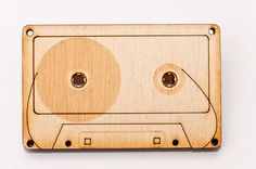 Wooden cassette tape brooch by niceniceniceDE on Etsy