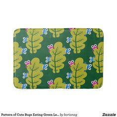Pattern of Cute Bugs Eating Green Leaves Bathroom Mat