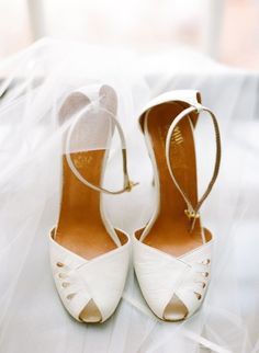 Wedding Open Toe Pumps With Ankle Straps White Wedding Shoes, Wedding Heels, White Shoes, Wedding Bride, Wedding Hair, Wedding Dresses, Shoe Gallery, Ankle Straps, Vintage Leather