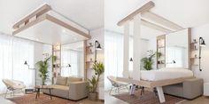 Modèle de lit escamotable design Cocoon pour une ambiance moderne