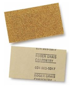 Sandpaper business cards for Roger Grais Carpentry. #graphic #logo #identity