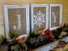 Someday Crafts: Framed Burlap Joy Sign