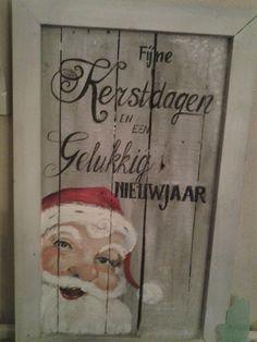 Kerstman op hout. Ook op bestelling. 55x85