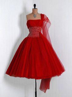 red dress, 1950s, strapless with chiffon shawl, full skirt, crinolines