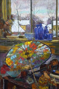 Stilllifequickheart: Elizabeth Pijpers Still Life with Parasol by the Window 20th century. Tumblr