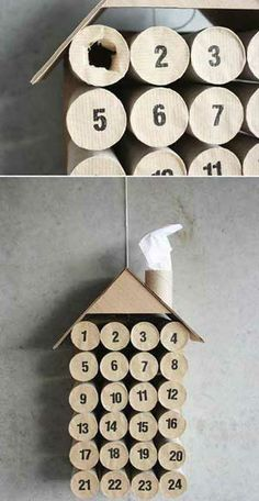 Quick and Easy Homemade Christmas Decorations - Toilet Paper Advent Calendar  - Click pic for 25 Inexpensive Christmas Decor Ideas
