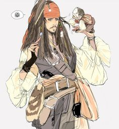 Captain Jack Sparrow with Jack Caribbean Jacks, Pirates Of The Caribbean, Pirate Art, Pirate Life, Gamers Anime, Anime Guys, Will Turner, Johnny Depp, Disney And Dreamworks