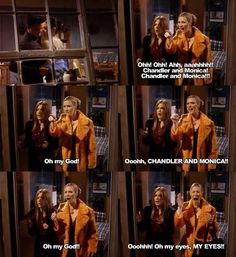 The one when Phoebe found out about Monica and Chandler secret relationship.. Lol | Friends
