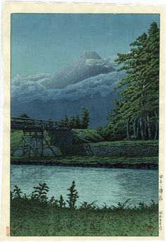 Hasui Kawase - Le mont Fuji vu du pont de Tagonoura 1930