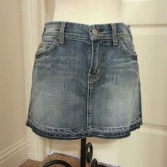 Citizens of Humanity skirt Faded denim skirt with skull and crossbones and bunny an thevback pockets. Citizens of Humanity Jeans