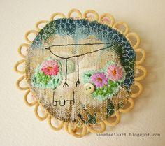 textile fiber brooch