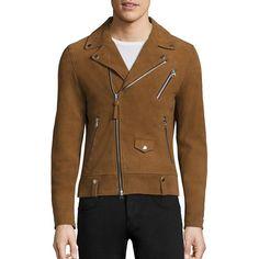 Mackage Fenton Suede Moto Jacket (14,990 MXN) ❤ liked on Polyvore featuring men's fashion, men's clothing, men's outerwear, men's jackets, mens jackets, mens biker jacket, mens suede biker jacket, mens fleece lined jacket and mens suede moto jacket