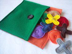 Felt Tic-Tac-Toe Game for Children - cute felt pocket