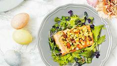 Uunilohen pähkinäkuorrutus on maustettu sitruunalla. Kokeile kuorrutusta myös vaalealle kalalle.