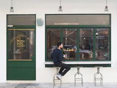 RAC is both a cafe and bar combined. Cafe Shop Design, Cafe Interior Design, Store Design, Restaurant Concept, Restaurant Design, Facade Design, Exterior Design, Cafe Exterior, Shop Facade