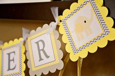Elephant Baby Shower, banner, Baby Shower banner, Baby Shower, Elephant banner, Yellow and grey banner