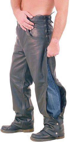 Side lace leather motorcycle overpants for men, a. chap pants with rawhide side lacing at waist to adjust for best fit. Exclusive Jamin Leather motorcycle pants with outside leg zippers and snap cuffs. Easy on and off leather motorcycle pants. Leather Motorcycle Pants, Mens Leather Pants, Leather Skin, Biker Leather, Motorcycle Wear, Motorcycle Quotes, Dolce And Gabbana Man, Mens Big And Tall, Black Dress Pants
