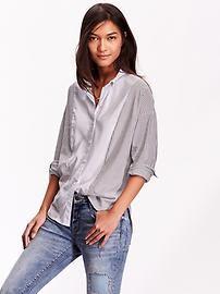 Women's Boyfriend Mixed-Stripe Shirts