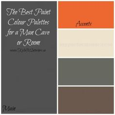 These paint colour palettes for a Man Cave or Man room should make the hubby happy!  Focusing on gray, brown and tan, with blue, orange and red accents - some great paint colour palettes (using Benjamin Moore paints) #mancave #benjaminmoore