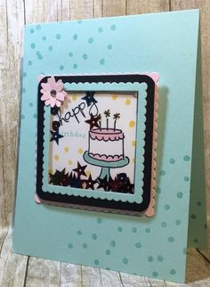 Endless Birthday Wishes, Layering Squares, Shaker card, Stampin' Up!, BJ Peters…