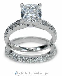 Cubic Zirconia CZ Wedding Bridal Set 2.5 Carat Cushion Cut Square & Pave In 14K White Gold.  The Ziamond Nora Bridal Set features approximately 3.25 carats in total carat weight.  $1995 #ziamond #cubiczirconia #cz #cushioncut #pave #bridalset #weddingset #engagementring #solitaire #ring #diamond #jewelry