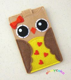 Custom Size Felt Owl iPhone Case Cell Phone Sleeve by ohmycake Felt Phone Cases, Felt Case, Diy Phone Case, Iphone Phone Cases, 6 Case, Felt Diy, Felt Crafts, Diy And Crafts, Pochette Portable